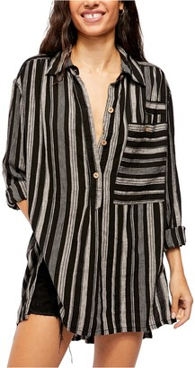 Free People Summer Breeze Stripe Print Linen Blend Blouse