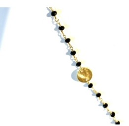 Roberta Sher Designs 14k Gold Filled Semiprecious Stones and Coin Accents Handwrapped Necklace