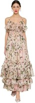 Dolce & Gabbana Floral Printed Silk Organza Long Dress