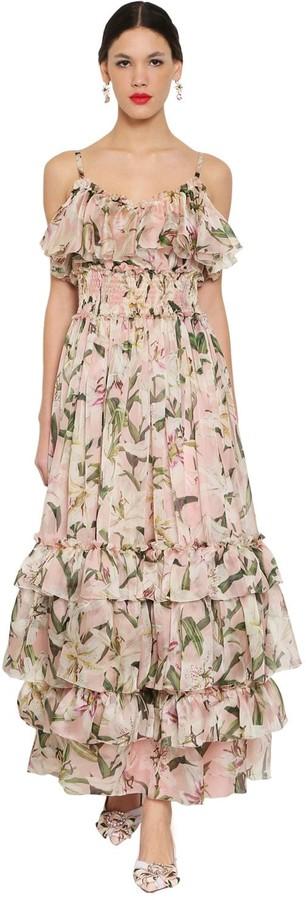 Dolce & Gabbana Floral Printed Silk Organza Long Dress