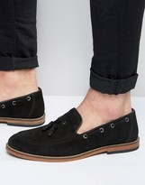 Asos Tassel Loafers In Black Suede With Natural Sole