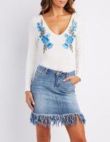 Charlotte Russe Floral Embroidered V-Neck Bodysuit
