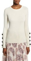 See by Chloe Wool Button-Trim Pullover Sweater, Off White