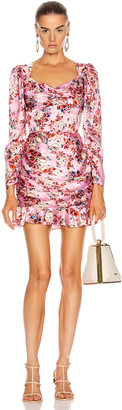 MARKARIAN Balthasar Ruched Mini Dress in Hot Pink Floral | FWRD