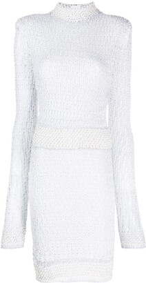 Balmain pearl and sequin embellished knitted dress