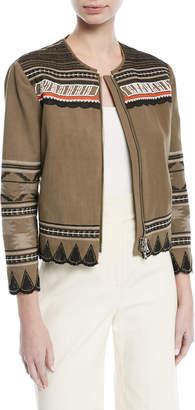 Veronica Beard Mirasol Zip-Front Cotton Jacket