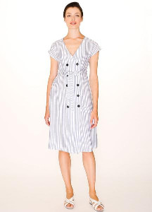 PepaLoves Buttoned Blue Stripes Dress - S