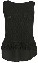 Fabiana Filippi Fringe & Crepe Layered Hem Knit Top
