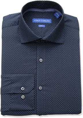 Vince Camuto Men's Slim Fit Performance Navy Dot Print Dress Shirt 17.5 32/33