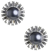 Kenneth Jay Lane Women's Silver Plated Round Grey Pearl Silver Crystal Starburst Drop Earrings
