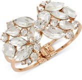 INC International Concepts Rose Gold-Tone Crystal Cluster Hinged Bangle Bracelet, Only at Macy's