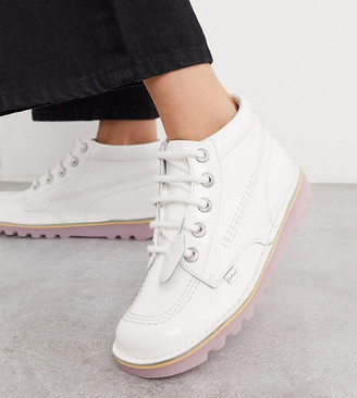 Kickers Kick Hi exclusive low ankle boots in white and pink