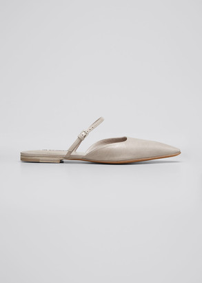 Jil Sander Leather Buckle-Strap Flat Mules
