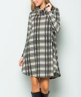 Sweet Pea Gray & Black Plaid Side-Pocket Cowl Neck Shift Dress
