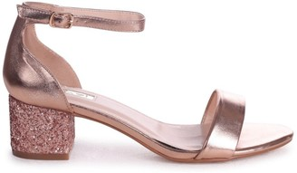 Linzi LOLLIE - Rose Gold Metallic Heavy Glitter Block Heeled Sandal