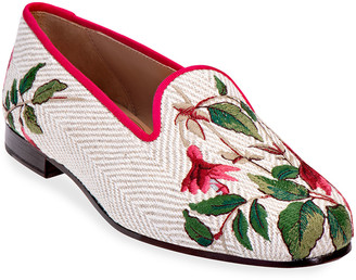 Stubbs And Wootton Fuchsia Embroidered Velvet Smoking Slippers