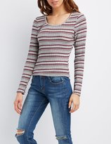 Charlotte Russe Striped & Ribbed Fitted Top