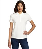 Moncler cream stretch cotton pique short sleeve polo