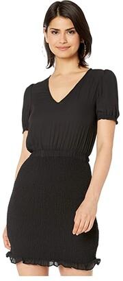 BB Dakota Smocked CDC Dress with Puff Sleeve (Black) Women's Dress