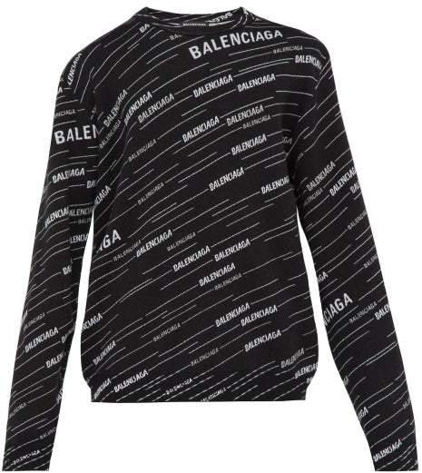 Balenciaga Logo-jacquard Sweatshirt - Mens - Black White