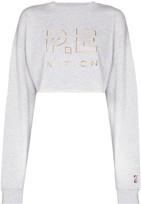 P.E Nation Embroidered Logo Cropped Sweatshirt