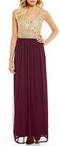 Jodi Kristopher Chain Lace Bodice Long Dress