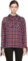 Opening Ceremony Red Plaid Cowl Neck Shirt