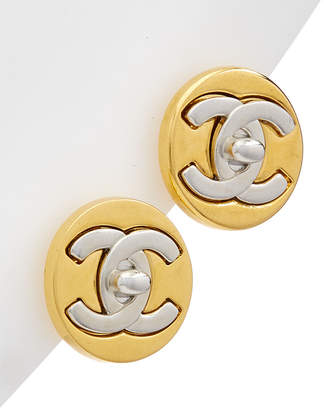 Chanel Two-Tone Cc Round Clip-On Studs