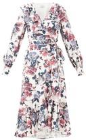 Erdem Jerridine Floral-print Ruffled Satin Wrap Dress - Womens - White Multi