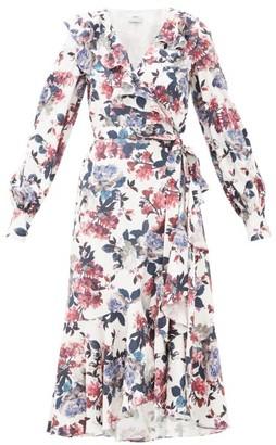 Erdem Jerridine Floral-print Ruffled Satin Wrap Dress - White Multi