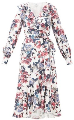 Erdem Jerridine Floral-print Ruffled Satin Wrap Dress - Womens - White Multi