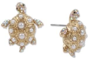 Betsey Johnson Gold-Tone Pave & Imitation Pearl Turtle Stud Earrings