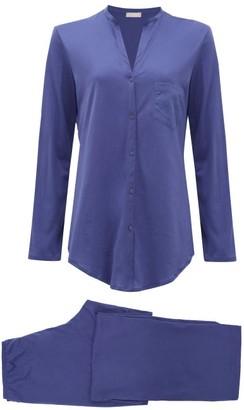 Hanro Cotton Pyjama Set - Womens - Navy