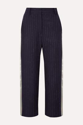Sies Marjan Bexley Cropped Satin-trimmed Pinstriped Wool-blend Twill Straight-leg Pants - Midnight blue
