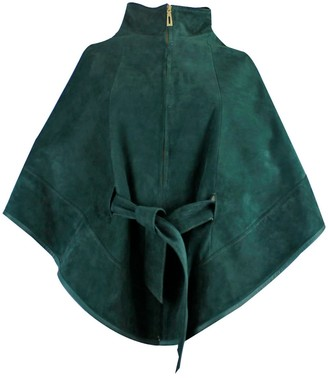 Zut London Suede Leather Cape With Belt Emerald Green