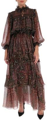 Etro Paisley Print Chiffon Maxi Dress