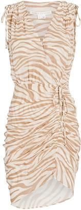 Veronica Beard Soheyla Ruched Zebra Mini Dress