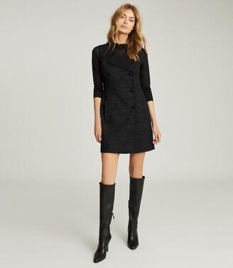 Reiss Maevie - Sleeveless Tuxedo Mini Dress in Black