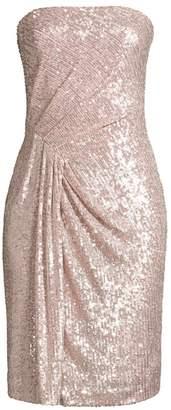Black Halo Domino Sequin Strapless Sheath Dress