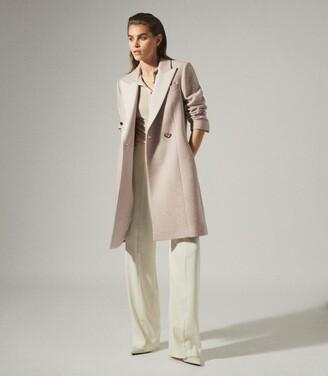 Reiss Mandie - Contrast Collar Overcoat in Neutral