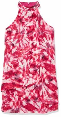 London Times Women's Sleeveless Halter Mini Chiffon Shift Dress