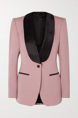 Tom Ford Silk Satin-trimmed Wool-faille Blazer - Pink