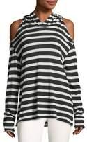 RtA Denim Juno Long-Sleeve Striped Hooded Tee