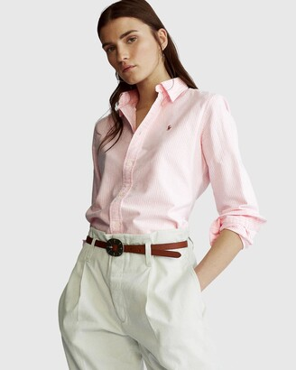 Polo Ralph Lauren Women's Pink Shirts & Blouses - Slim Fit Cotton Oxford Shirt - Size L at The Iconic