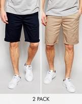 Asos 2 Pack Chino Shorts