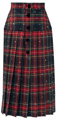 Miu Miu Crystal-embellished Pleated Wool Tartan Midi Skirt - Multi