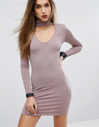 Motel Bodycon Dress With Choker Detail-Purple