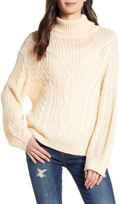 ALL IN FAVOR Open Knit Chunky Turtleneck Sweater