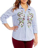 Gibson & Latimer Plus Striped Embroidered Blouse
