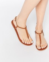 Asos FEATHER Leather Braid Sandals
